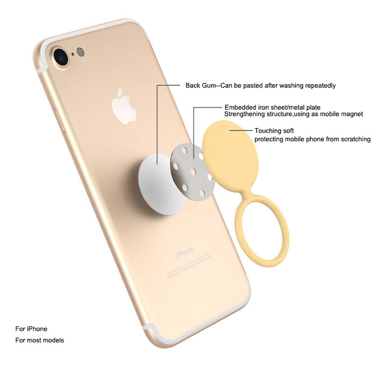 Silicion finger ring stand for iPhones touching soft finger ring holder
