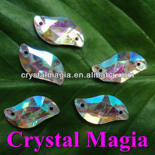 crystal AB S shape sew on glass stones quality insurance