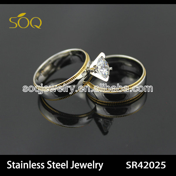 fashion stainless steel jewelry couple gold ring gear