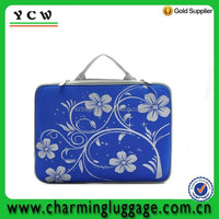 Blue flower patterned custom printed neoprene laptop sleeve with handle