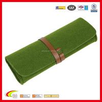 Factory Direct Supply Wool Felt Pen Roll with Leather Strap, Customized High Quality Wool Felt Pen Case / Pen Holder