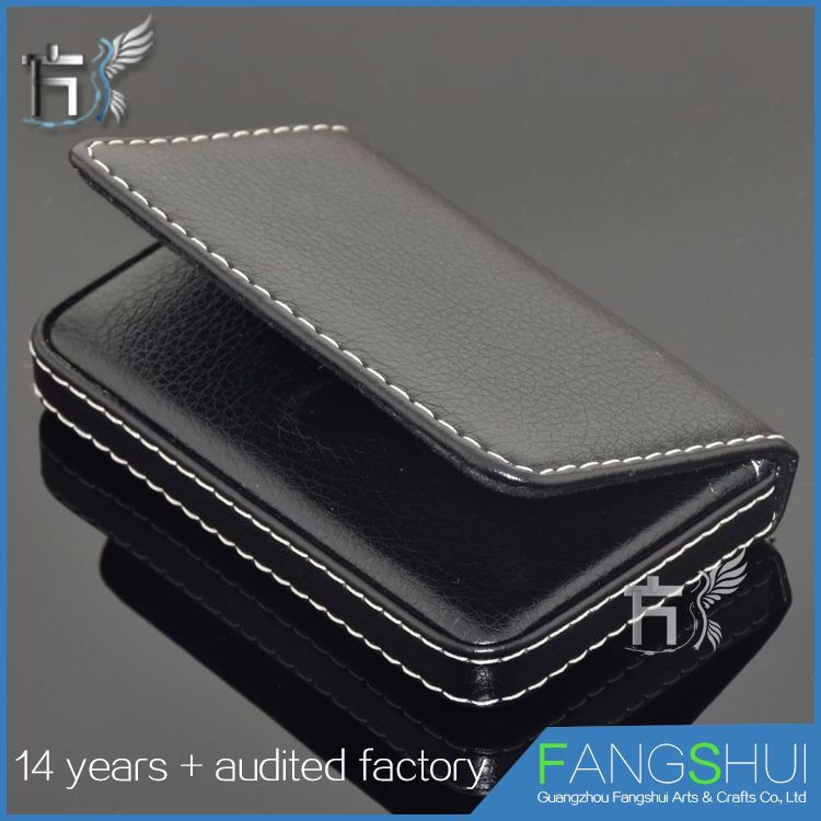 Cheap for sale high quality elegant black pu leather business name card case