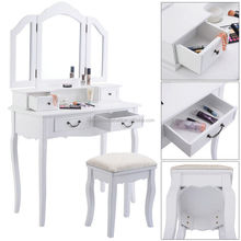 Tri Folding Mirror White Wood Vanity Set Makeup Table Dresser 4 Drawers and Stool