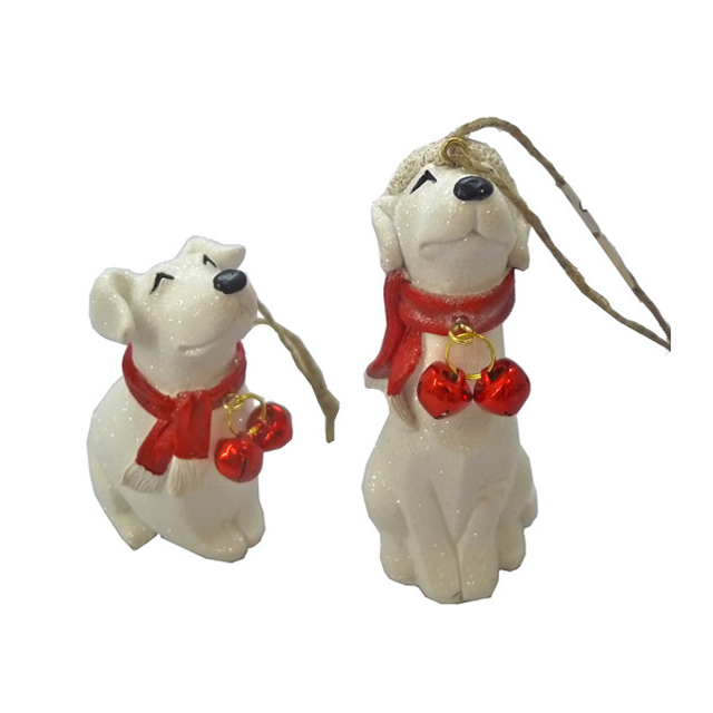 polyresin wholesale dog christmas ornaments