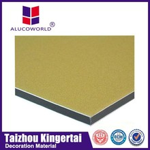 Alucoworld skillful advertising alusign gold brushed acp plates aluminum composite panel corrugated wall cladding