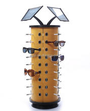 custom rotating floor stand wooden sunglass display rack with mirror