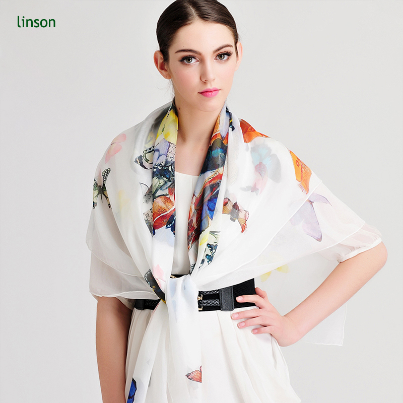 Custom fashional print plain Silk chiffon big size square neck scarves &shawls for spring and summer