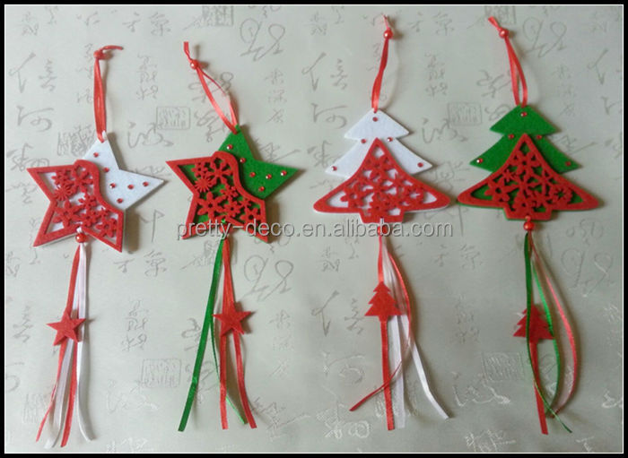 New fashion felt tree,star and beel shaped wholesale christmas decorations