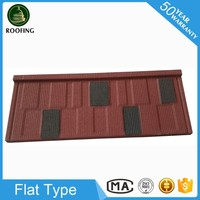 Hot selling Flat roof tile,stone coated steel metal roofing tiles with low price