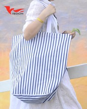 Hot sale customized logo and color stripe canvas tote bag shopping bag