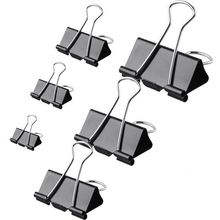 high quality iron decorative nickel black colored binder clip metal foldback clip