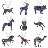 Hot sale vintage boy and girl heat transfer print acrylic pendant cute animal necklace