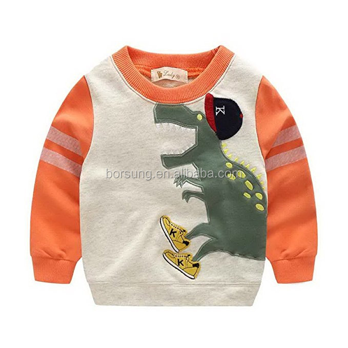 Fall and winter hot sale new style fashion boy's shirt children's custom dinosaur embroidery boutique clothing for boys