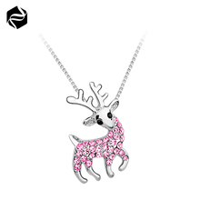 Christmas Gifts Girl Women's Pink Crystal Elk Blingbling Pendant Necklace Privide Customized Jewelry