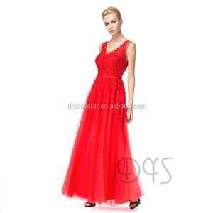 Modern V-Neck Lace-Up Red Long Lace Appliques Prom Dress With Shiny Sequins