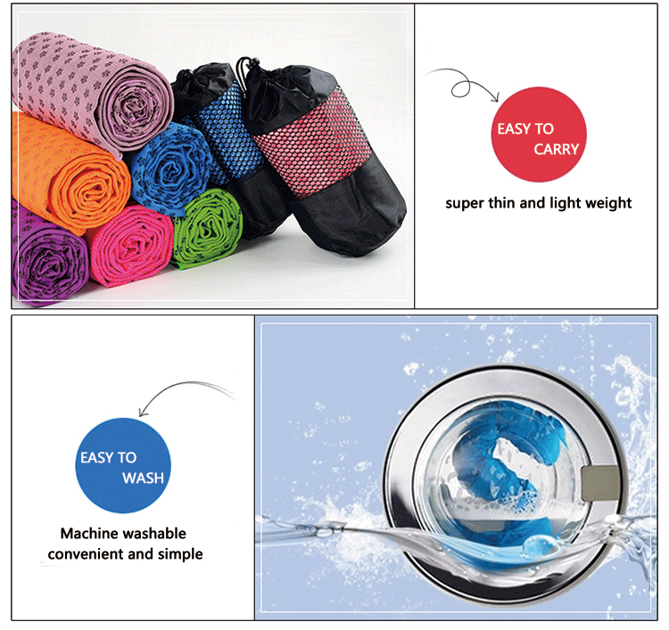 super soft manufacturers silicon dots hot yoga mat towel