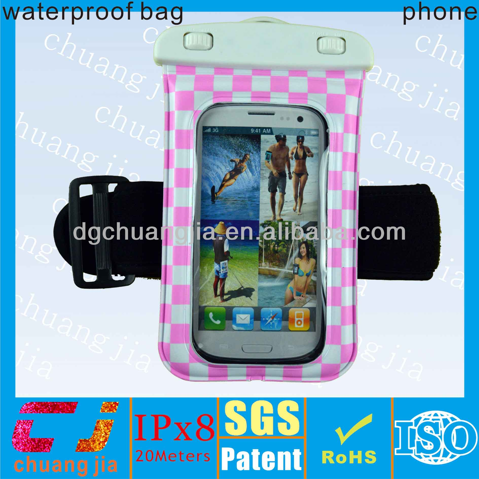 Soft pvc waterproof cell phone bag for samsung galaxy s3 i9300