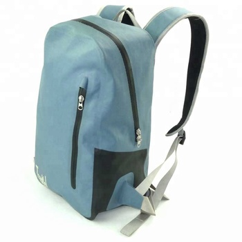Waterproof TPU Backpack Dry Bag- Cushioned Padded Back Panel, with two compartment Zippered Pocket and 15''Laptop Sleeve