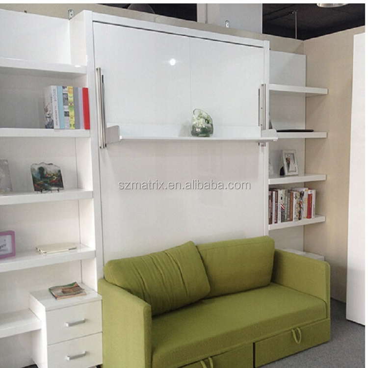Chinese Whole Home Furniture Living Room Sofa Wall Bed With Bookshelf Murphy