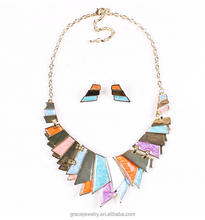 cheap ornaments colorful fashion western style necklace earrings set