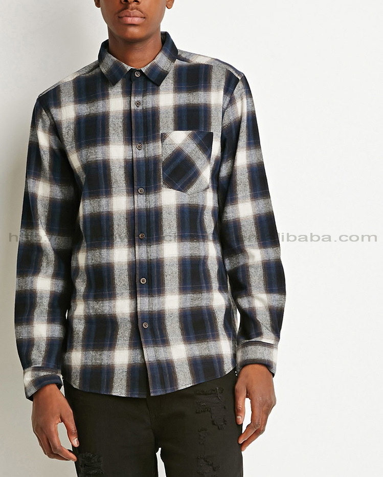 multicolored long sleeve high quality plaid custom flannel shirt