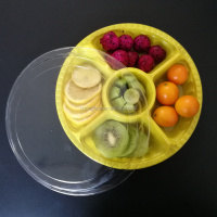 Wholesale Food Grade Clear 5 Compartments Fruit Vegetable Plastic Tray With Divider