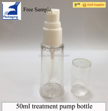 50ml cosmetic package clear plastic treatment pump bottle for sale