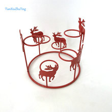 Christmas deer candle holder round metal wire with tealight