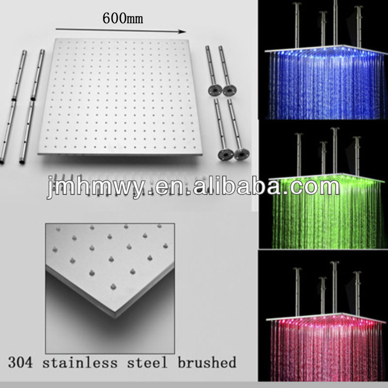 Hot selling led bathroom light rain overhead shower head 600*600mm