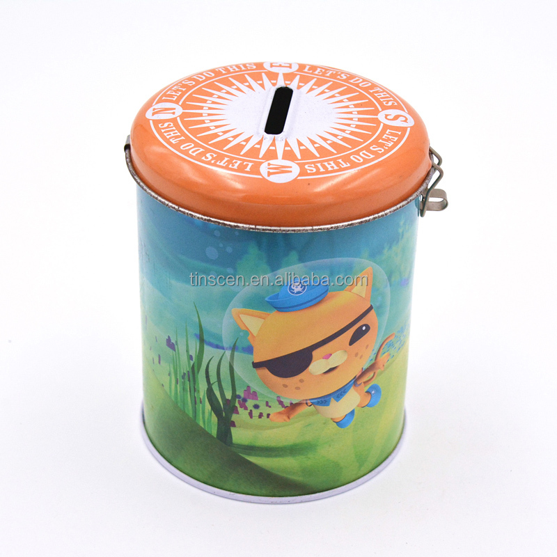 Round tin coin bank with hinge and lock
