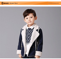 2015 Winter New Korean Boys Jackets Coats Simple Warm Lamb Wool Lining Kids Clothes Wholesale OC81109-33