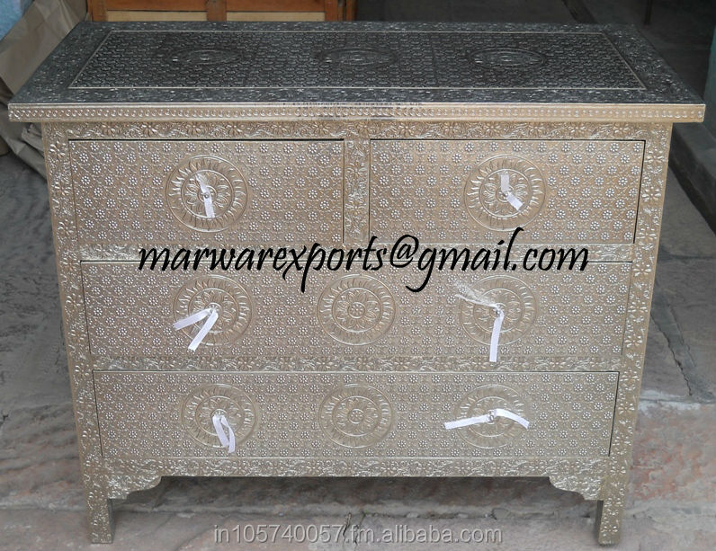 White Metal Embossed Chest of Drawer