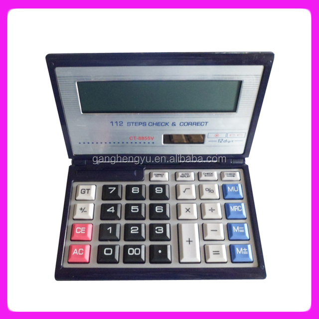 Best Selling 12/14 Digits Computer Keyboard Foldable Dual Power Calculator
