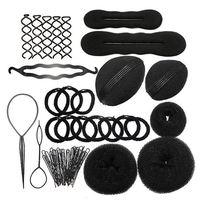 8 In 1 Black Magic Hair Braider Hair Bun Clip Pads Curler Roller Hairpins Hairstyle Set Kit Twist Sponge Hair Braiding Tool Z3