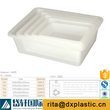 white rectangular 10 litre plastic container without lid