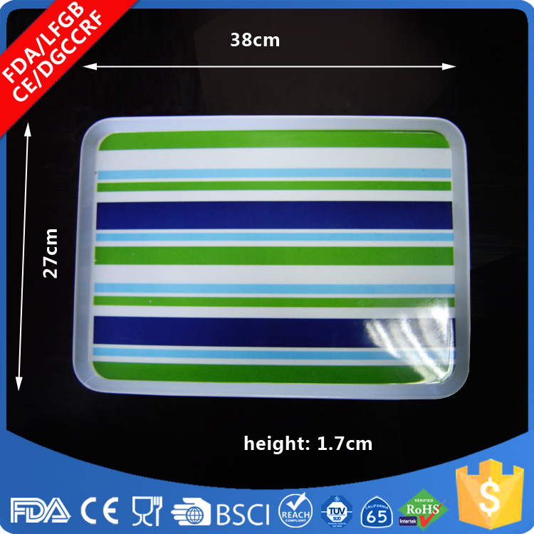 Food Grade Custom Design melamine carrying serving tray with handle