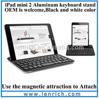 LBK175 Best Seller Handheld Aluminum Mini Bluetooth Wireless Keyboard For iPad Mini 2 With Smart Cover and Display Stand