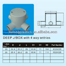 Electrical Fitting PVC Deep 4 Way Junction Box,J/BOX with 4 way entries
