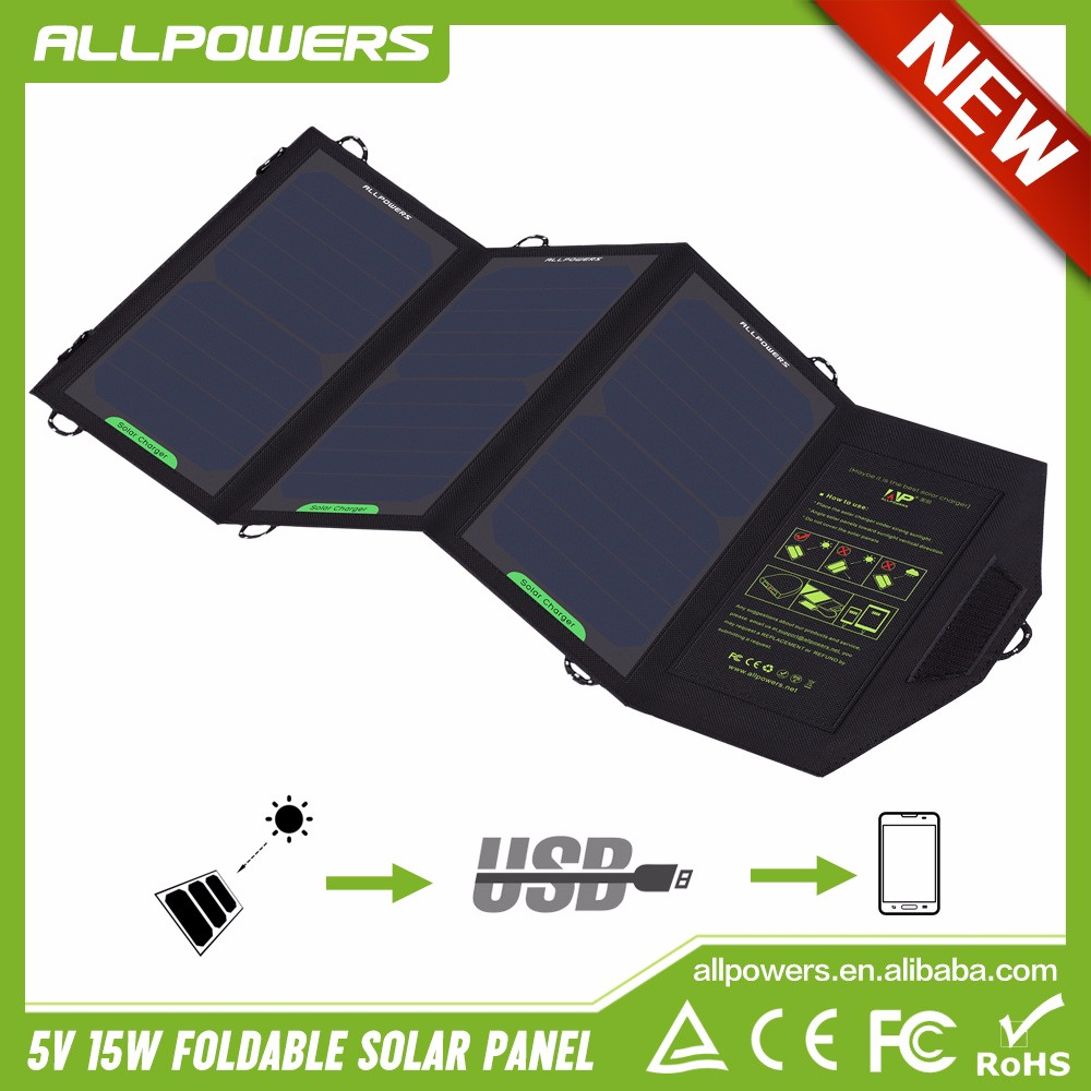 Foldable Solar Panel 5V 15W Carrying Outdoors Solar Charger for Mobile Phone/Camera/Flashlight.