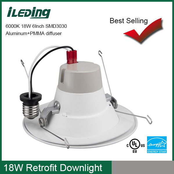 High power indoor UL Energy Star approved 18w 1300lm 6000K E27 led down light