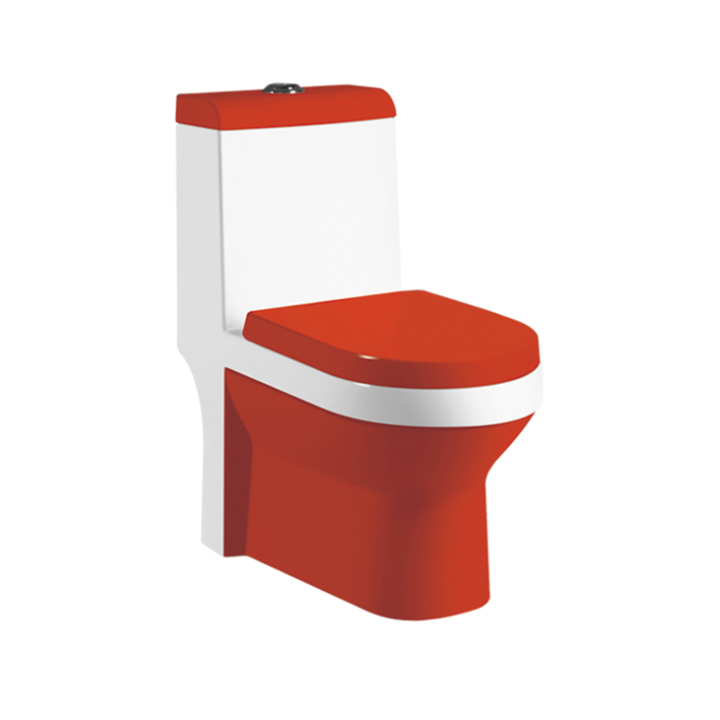 Floor Mounted Red Color Ceramic Toilet Bowl