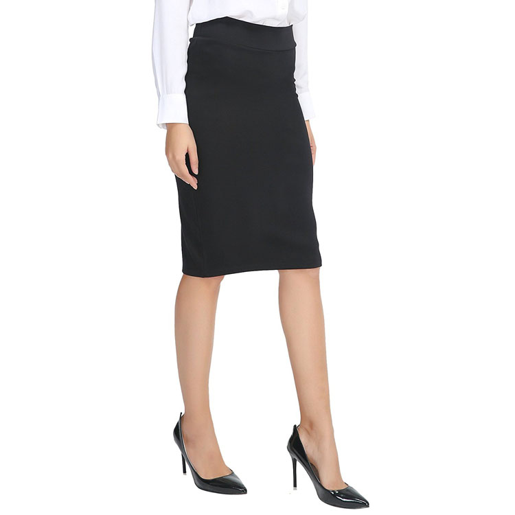 Clothing Factory Women's Elastic Knitted Stretch Bodycon Midi Pencil Office Skirts