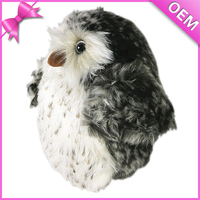 Simulation Bird Feather Plush OWL Lifelike White And Black Spot Owl Stuffed Toy