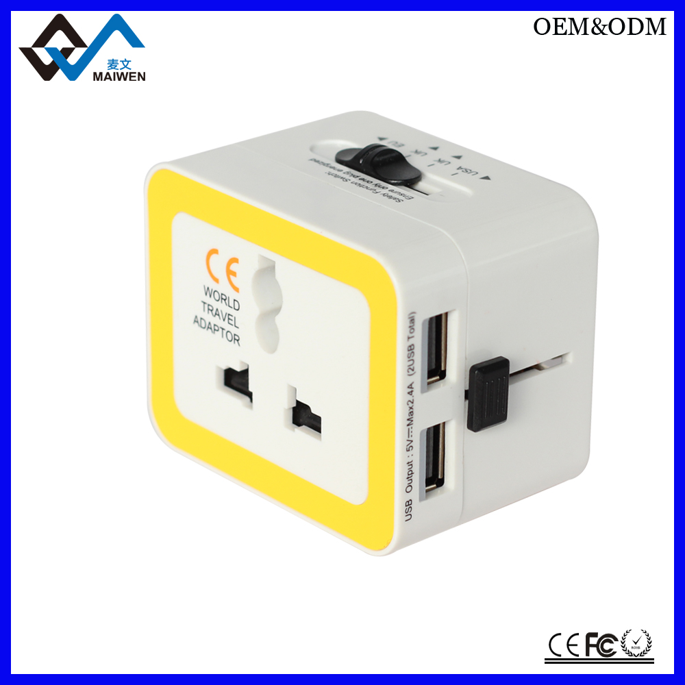 World Travel Adaptor with Dual Lightning USB 2.4A Converter set and power switch
