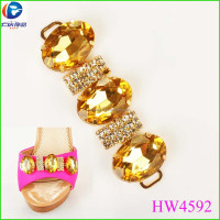 Fashion popular metal clip rhinestones leaf shoe decoration
