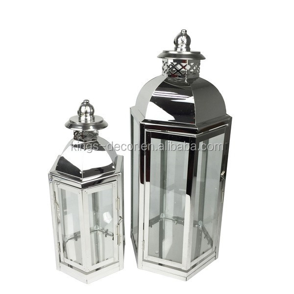 Hexagon shape sliver stainless steel lantern set of 2