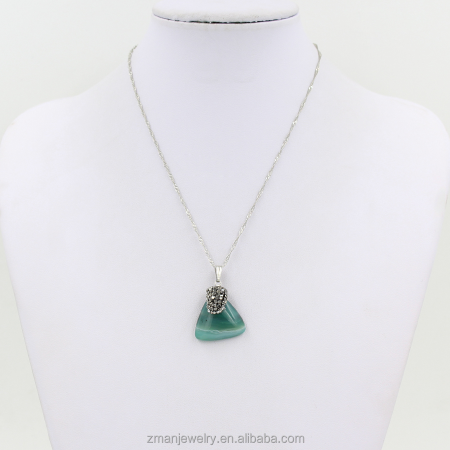 Fashion Triangle Light Grey And Emerald Pendant Necklace Delicate Agate Stone Necklace