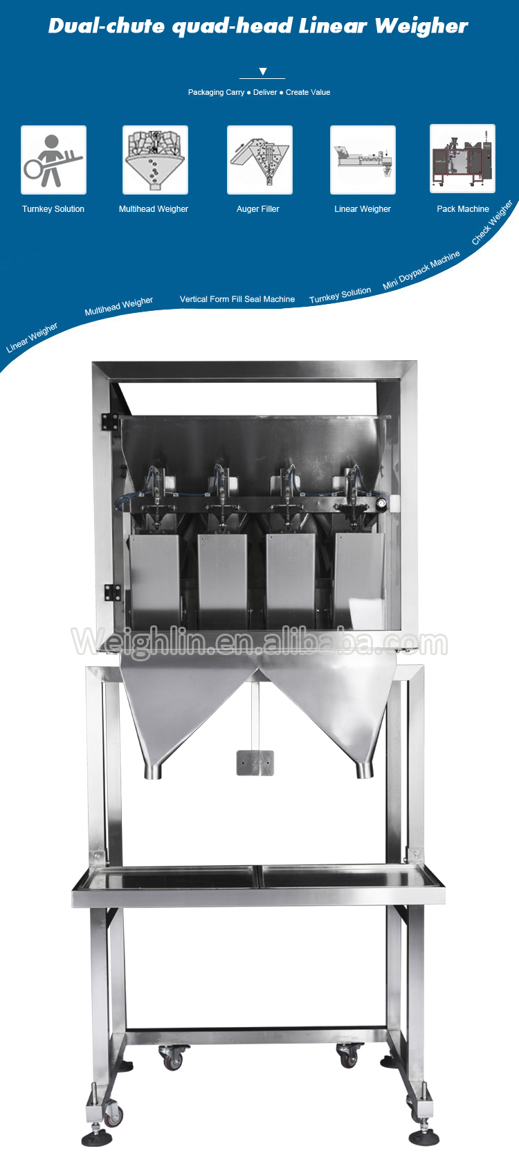 Modular packaging machine with innovative software 4heads two chutes linear weigher packing flour powder