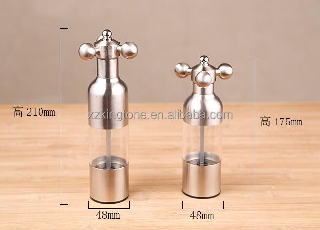 Stainless Steel Hand-Operated Pepper Mill with See Through Window