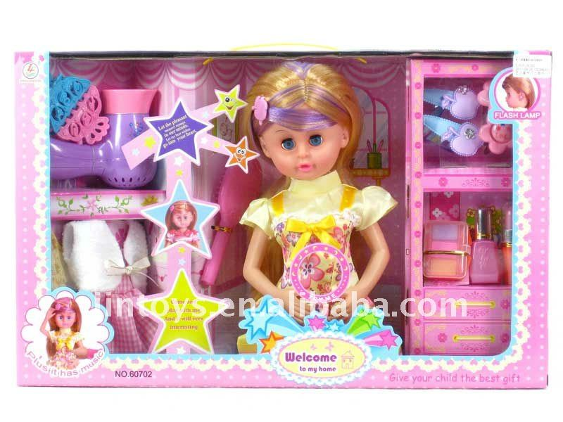 Girl Toy,Doll Girl with Light & Musi,3 Models Assorted -- AN2481